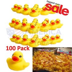 """100 Pack Mini Rubber Ducks Duckie Baby Shower Birthday Party Favors 1.5"""""""