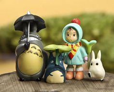 Terrarium Material Accessories Ghibli Studio Fairy Garden Miniature Set of 4 Girl Totoros DIY Accessories Totoro, Steam Art, Clay Design, Miniature Fairy Gardens, Polymer Clay Crafts, Garden Accessories, Anime Figures, Animes Wallpapers, Studio Ghibli