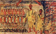 ***El paso del Mar Rojo. Fresco de Dura Europos, Siria, S.III. No son abundantes las representaciones de la marcha de la caravana que antecede al Paso del Mar Rojo. En estos casos el pueblo hebreo aparece guiado de día por una columna de humo (o nube) y por la noche iluminada por una de fuego= Estrella de los Reyes Magos. Episodio interpret como el Poder Sanador del Bautismo. Desde paleocrist: el momento que el ejército del faraón se sumerge en las aguas y el júbilo de los judíos.