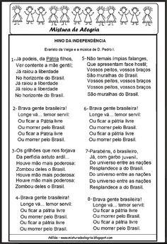 Resultado de imagem para IMAGEM DO HINO DA INDEPÊNDENCIA DO BRASIL SOBRE A SEMANA DA PÁTRIA