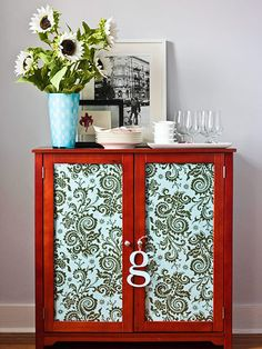 Wallpaper to cover old cabinet doors