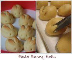 """So cute!  These bunnies look easy to do with your regular roll recipe, plus baby chick cupcakes, marshmallow """"bark"""" and colored deviled eggs - love the marbled-look ones  :)"""