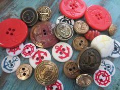 Vintage Buttons - Cottage chic mix of red, navy and off white and metal nautical mix, old and sweet,lot of 27-  (120-4) on Etsy, $8.95