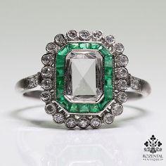 Period: Art Deco (1920-1935) Composition: 18K Gold & Platinum. Stones: • 1 Rose cut diamond of H-VS2 quality that weighs 0.60ctw. • 28 Old mine cut diamonds of H-VS2/SI1 quality that weigh 0.40ctw. •