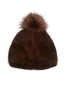 6b8d8792fbd Julia   Stella Rabbit Fur   Fox Fur Pom-Pom Beanie