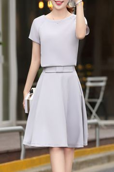 Elegant Solid Color Tee and Skirt Suit #Chic Elegant #Work_Dresses #Working_Woman #Fashion