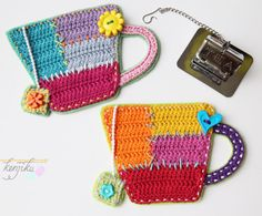 Your place to buy and sell all things handmade Tea Cup Crochet Patchwork Crochet Pattern DIY by KenjikuMade Diy Crochet Applique, Crochet Coaster Pattern, Crochet Geek, Free Crochet, Doilies Crochet, Thread Crochet, Crochet Flowers, Crochet Kitchen, Crochet Home