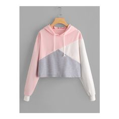 Color Block Drawstring Hooded Sweatshirt via Polyvore featuring tops and hoodies