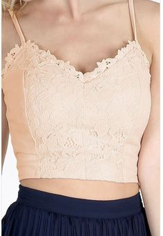 Peach lace insert crop top! Perfect summer piece to add to your closet! Now available for only $18, these won't last! Shop now- www.ShoppingInTheAM.com