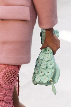 Burberry Prorsum Mint flower clutch. #ss14