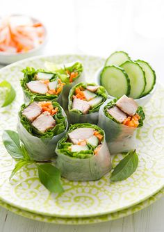 Garlic Chicken Spring Rolls - Fresh basil, fresh mint or any herb will be a wonderful addition to this Asian fusion dish.
