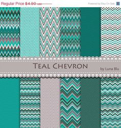 Chevron digital paper pack galaxy chevron scrapbook for Teal chevron wallpaper
