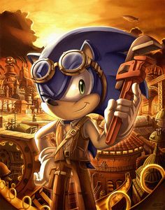 """This is a commission for He asked me to draw a cover for his fan comic """"Sonic Steampunk"""" in the same vein as Sonic which in turn is based on the o. Hedgehog Art, Sonic The Hedgehog, Sonic Fanart, Greek Goddess Art, Sonic Franchise, Steampunk Design, Steampunk Crafts, Sonic And Amy, Steampunk Cosplay"""