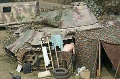 A Panther V Ausf G at rest in a rear area