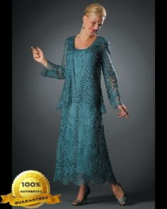 Soulmates C1062 Crochet Beaded Silk Lace Fit-n-Flare Ankle Length 2 pc Jacket Dress (Missy, Plus Sizes) - Mother of the Wedding