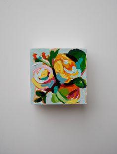 Satisfied  Original Miniature Acrylic by KreativeKatherine on Etsy, $35.00