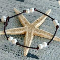 Pearl and Leather Anklet Destin by nicholaslandon on Etsy, $58.00