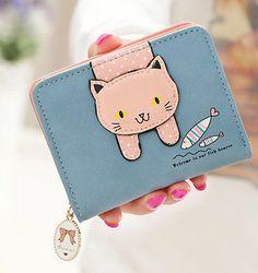 New-Cat-Fish-Clutch-Checkbook-Change-Coin-Bag-Women-Purse-Ladies-Handbag-Wallet