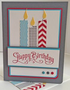 Fabulous Birthday-Tape It & Perfectly Penned stamp sets; Basic Grey, Real Red, Tempting Turquoise & Daffodil Delight CS; Brights & Neutrals Candy Dots; Corner Rounder Punch.