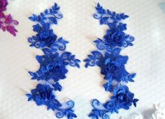 """Sarah - order 3 sets DIY 3D Lace Appliques Blue Floral Embroidered Mirror Pair 10.5"""" Sew on (DH65) #Unbranded #MIRRORPAIRLEFTRIGHT"""