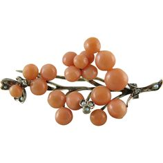 Antique Victorian Gold Filled Coral And Seed Pearl Pin