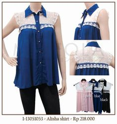 #MINEOLA Alisha shirt blue. Also available in pink and black color. Rp.218.000,- Bust: 90cm - Length: 65cm. Fabrics: chiffon + lace. Product code: 1-13051053