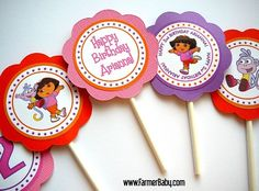 Dora The Explorer Birthday Party - Cupcake Toppers