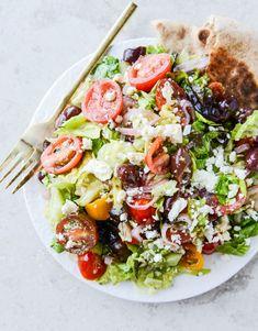 my favorite greek salad with homemade whole wheat pita I howsweeteats.com