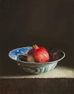 'Still Life with Pomegranate' 2014 oil on panel by Dutch artist Erkin