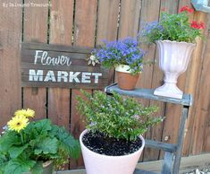 Build a Rustic Flower Market Sign with Scrap Wood and Old Sign Stencils - MySalvagedTreasures.com