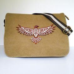 Canvas messenger bag, despatch bag, work bag, college bag, school bag, celtic hawk bag, zippered bag, shoulder bag, diaper bag, nappy bag. by JaneAtNumber13 on Etsy