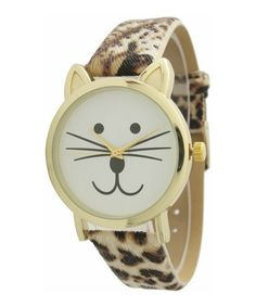 Cheetah Cat Leather-Band Watch