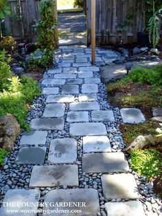 a Rock Garden in a Day An inexpensive option for a beautiful path. Flagstones and river rock garden pathAn inexpensive option for a beautiful path. Flagstones and river rock garden path Landscaping With Rocks, Backyard Landscaping, Landscaping Ideas, Walkway Ideas, Path Ideas, Arizona Landscaping, Backyard Walkway, River Rock Landscaping, Inexpensive Landscaping