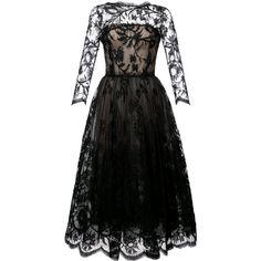Oscar de la Renta A-line lace dress (129,880 MXN) ❤ liked on Polyvore featuring dresses, black, oscar de la renta, a line shape dress, lacy dress, lace dress and oscar de la renta dresses