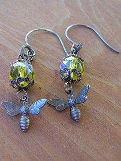 Busy as a Bee Earrings by swallowtailjewellery on Etsy, $18.00