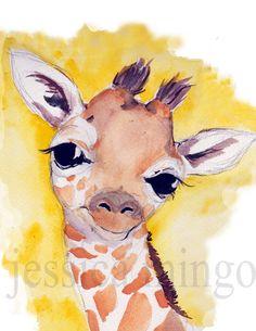 Giraffe Print Jungle Art Jungle Nursery Art by JessicaMingoDesigns, $7.00