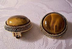 Brown Sand Clip On Earrings Gold Tone by PrettyJewelryThings, $39.99