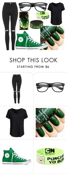 """Green and black"" by zalaneacoles ❤ liked on Polyvore featuring Topshop, New Look and Converse"