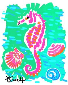 art print pink sea horse with aqua by artist kelly tracht art poster sea horse art item is part of Seahorse artwork - Art Print Pink Sea Horse with Aqua by artist Kelly Tracht, Art Poster Sea Horse Art Item Beautifulart Poster Tropical Home Decor, Tropical Decor, Tropical Furniture, Tropical Interior, Beach Cottage Decor, Coastal Decor, Coastal Style, Cottage Ideas, Coastal Homes