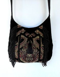 Fringed Gypsy Tapestry Bag Messenger Renaissance Crossbody Black Velvet Boho Purse from piperscrossing on Etsy. Fringe Fashion, Boho Fashion, Black Velvet, Gypsy Bag, Renaissance, Tapestry Bag, Unique Purses, Boho Bags, Black Braids