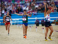 Day 16 - Margaux Isaksen of the U.S., Brazil's Yane Marques and Britain's Samantha Murray react as they finish the combined event of the women's modern pentathlon during the London 2012 Olympic Games at Greenwich Park. DARREN STAPLES/REUTERS
