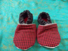 Baby Booties 12 to 18 Months Black and Red Checkers - Medium Weight Fabric by BettieJune on Etsy