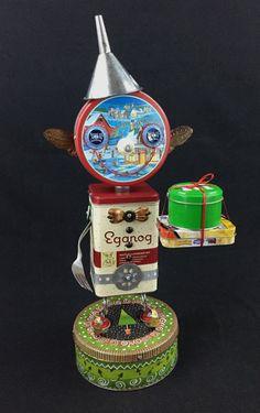Found Object Robot Sculpture Eggnog Elf Christmas by slipslopslap