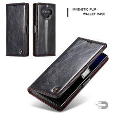 CaseMe Samsung Galaxy Note 9 Oil Wax PU Leather Wallet Case Black