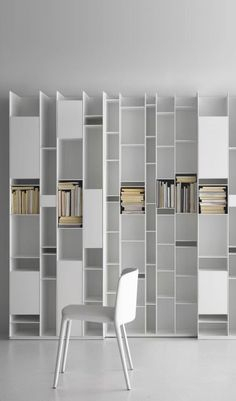 Different finish and sizes but reference for office bookcase cabinetry MDF_bookcase RANDOM by MDF Italia My Furniture, Cabinet Furniture, Furniture Design, Modern Bookcase, Bookcase Shelves, Corner Shelves, Wall Shelves, Bookcase White, Book Shelves