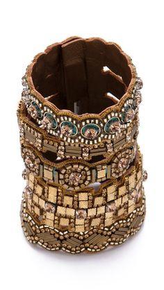Deepa Gurnani Wide Embellished Medallion Cuff