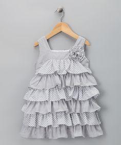 Gray Dot Lots of Ruffle Dress - Toddler & Girls    Halabaloo