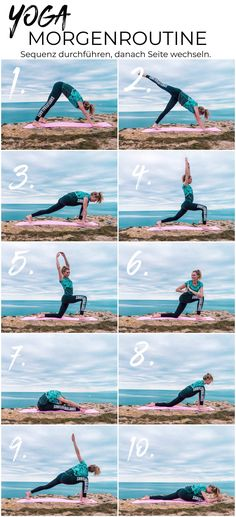 Yoga morning routine - 10 exercises for a great start to the day We from surflifebalance have photographed a beautiful yoga flow for you that you can easily replicate :) Yoga sequence, yoga flow, surfer yoga, morning routine Fitness Workouts, Yoga Fitness, Tips Fitness, Health Fitness, Yoga Flow, Yoga Meditation, Diy Yoga, Yoga Inspiration, Fitness Inspiration