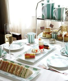 Afternoon Tea, Claridge's London. Don't know whether you can but I can't see any tea! Looks fun though.....