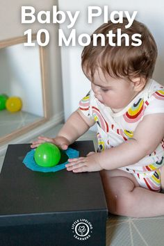 Baby play ideas at 10 months by Little Lifelong Learners. Ten month olds love sensory play, putting objects in containers, and dumping them back out! I'm sharing our favorite baby activities for 10 month olds, including ball posting, ice cube play, farm small world play, and sponge sensory play. Read the blog post for more ideas and inspiration for playing with your 10 month old! Motor Skills Activities, Sensory Activities, Infant Activities, Baby Play Areas, Baby Sensory Play, Small World Play, 10 Month Olds, Messy Play, Toddler Play